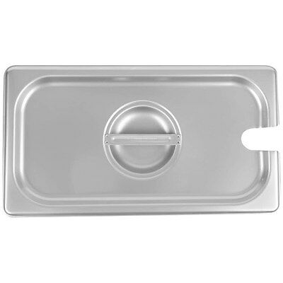 1/3 Size Slotted Silver Stainless Steel Steam Table / Hotel Pan Lid Cover