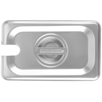 1/9 Size Slotted Stainless Steel Silver Steam Table / Hotel Pan Lid Cover