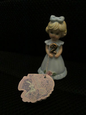 Enesco Growing Up Birthday Girls Figurine Age 2 1981
