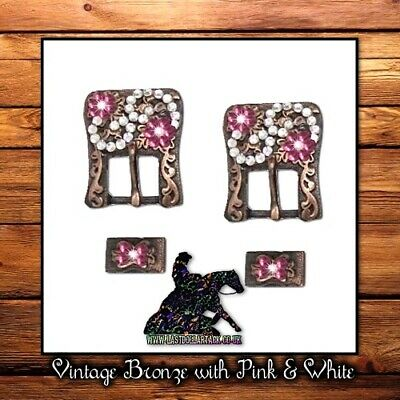 Vintage Dark Copper Pink & White Crystal Buckle Set For Western Headstall - 2Pk