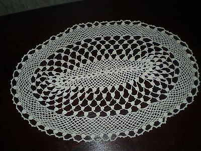 Vintage-Handmade Cotton Crochet Lace Witte oval Tablecloths