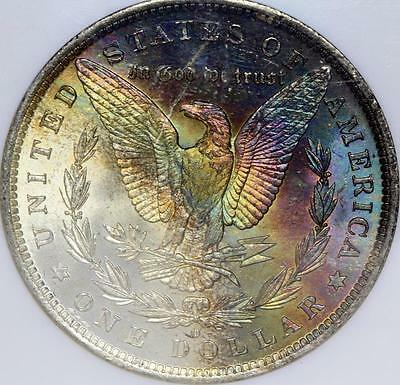 1884-O Morgan Dollar Ngc Ms 63 Star, Rainbow Toning On Reverse!!