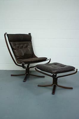 Danish Brown Leather Falcon Chair & Ottoman Sigurd Resell Ressell #1656