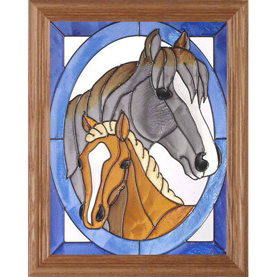 Mare and Foal Stained Glass Wall Art