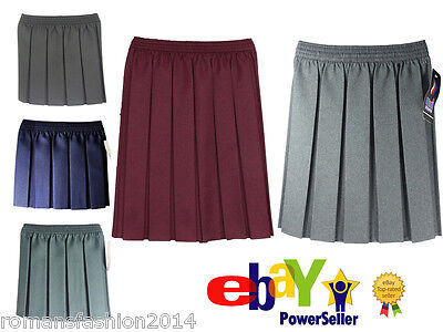 Girls School Uniform Polyester Box Pleated Elasticated Waist School Kids Skirt