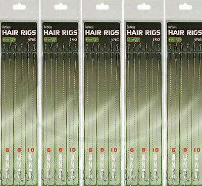 30 X Hair Rigs Barbless Size 6 8 10 Carp fishing Rigs NGT Tackle 12lb Braid