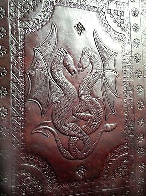 DRAGONS- Luxury Handmade Leather A4 Portfolio or Wicca Book of Shadows - WYVERNS