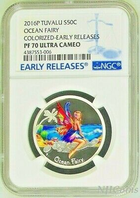 2016 TUVALU Ocean Fairy Silver Proof NGC PF 70 1/2oz Half Dollar Coin ER Colored