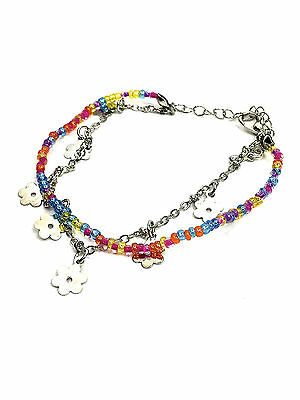 Girls Multi-Coloured Bead and Daisy Charm Bracelet Gifts Birthdays Toddler