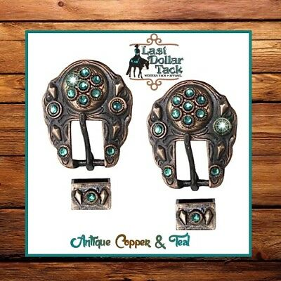 Dark Bronze Copper & Teal Crystal Buckles Replacement For Western Headstall *2Pk