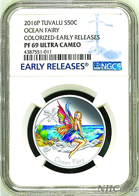 2016 TUVALU Ocean Fairy Silver Proof NGC PF 69 1/2oz Half Dollar Coin ER Colored