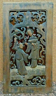19th Century Chinese Figural Carved Furniture Panel