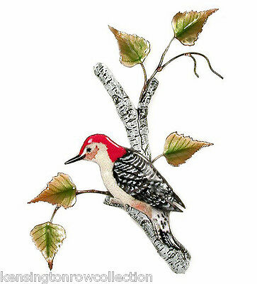 Wall Art - Woodpecker In Birch Tree Metal Wall Sculpture - Wall Decor