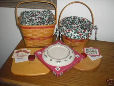 Longaberger CHRISTmas Basket Liner Protector Holly Candle Plate Pottery Set Lot