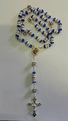 Sliver Metal with Blue Crystal Rosary Necklace With Gift Box