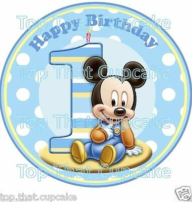 baby mickey mouse first 1st birthday edible wafer cake topper boy