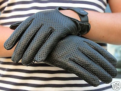 Mens Classic Driving Gloves Soft Genuine Real Lambskin Leather - Tan Black