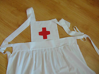 """Ww1 Ww2  Cotton Adult Nurse Apron """"red Cross Inspired"""" - Re-Enacting War Time"""