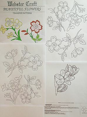 4 x Beautiful Flowers iron on transfers 4 x A4 for Embroidery by Websters