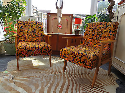 Vintage Orange East German / Danish Style Cocktail Lounge Armchairs C1970 M16/1J
