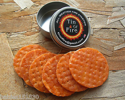TIN OF FIRE - All Weather Fire Starter Great for camping hunting survival packs