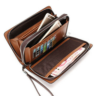 [NEW] Men Business Man-made Leather Portable Bag Double Zipper Wallet