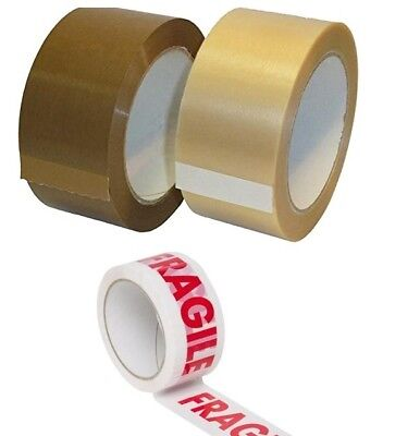 Mixed Clear/Brown/Fragile  Parcel Packaging Tape Rolls 48Mm X 50M Multilisting
