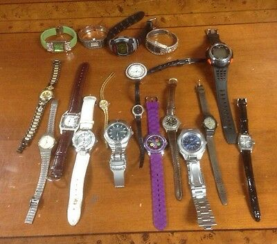 Watch Lot 18 Watches Timex Lorus Guess Casio Fossil Chicos Caravelle By Bulova