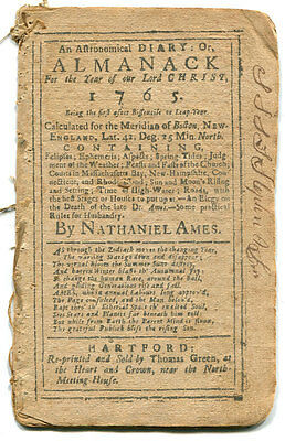 1765 Almanack by Nathaniel Ames