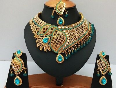 Indian Bridal & Party Wear Jewellery Set Turquoise Gold Plated New Aq/43
