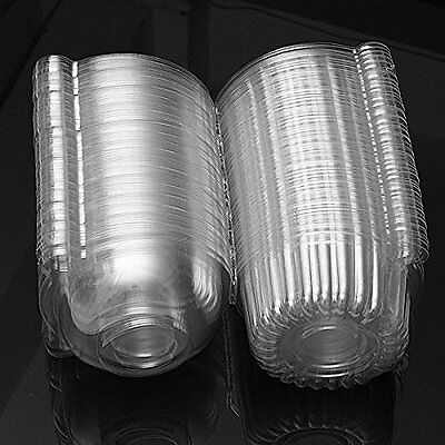 50 x Single Plastic Clear Cupcake Holder / Cake Container FP7