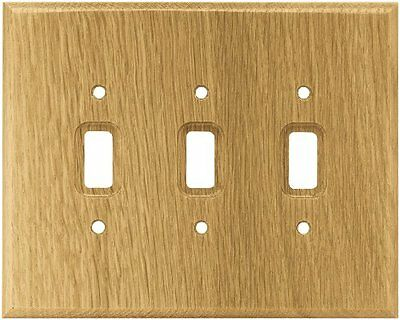 Brainerd 126430 Wood Square Triple Toggle Switch Wall Plate / Switch Plate / Cov