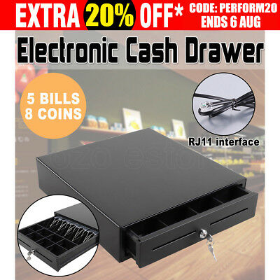 Electronic Heavy Duty Cash Drawer Cash Register POS 4 Bills 5 Coins AU Stock New