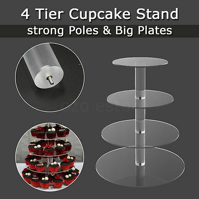 4 Tier Clear Acrylic Maypole Round Cupcake Cake Stand Wedding Birthday Party New