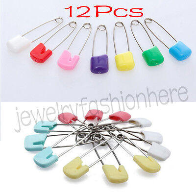 12Pcs Baby Diaper Pins Holder Safety Shower Locking Cloth Nappy Hold Clip New HG