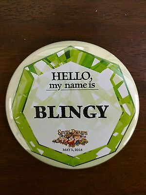"Walt Disney World Seven Dwarfs Mine Train Hello My Name is Blingy 3"" Button RARE"