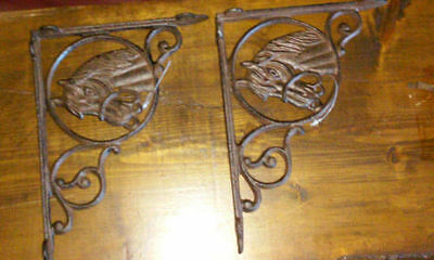 Western Cast Iron Horse Shelf Bracket Brace Western Decor Set of 2
