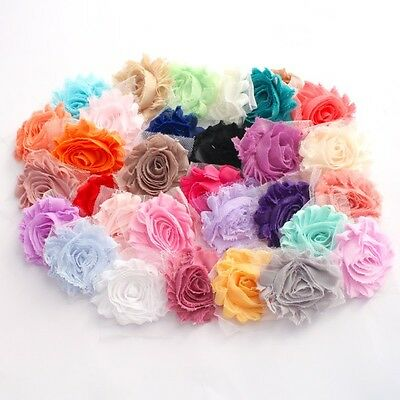 10 Shabby Chiffon flower mixed pack for millinery ,  hair and craft