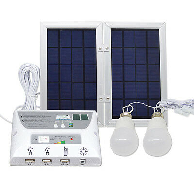 Outdoor Solar Lights System Kit 2 LED Bulbs Power Bank Waterproof Camping Lamp