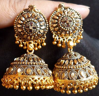 Wholsale Lot of 5 Pcs Indian 22K Gold Plated Jewelry Earrings Jhumka Set 5cm