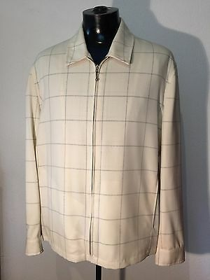 Vintage 1950s style new old stock zip up mens jkt pure wool,window pane check.