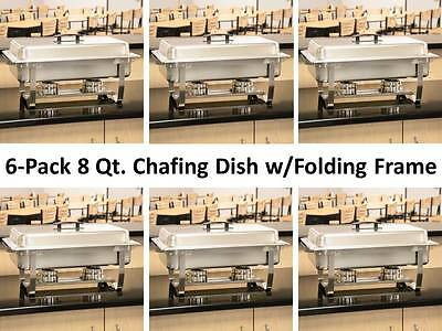 6-Pack Choice Full Size 8 Qt. Stainless Steel Chafing Dishes with Folding Frames