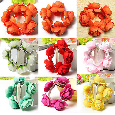[NEW] Flower Bun Garland Floral Head Knot Hair Band Elastic Bridal