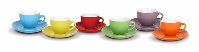 Set of 6 Coffee Espresso Porcelain Cup Cups With Saucers Multi Coloured