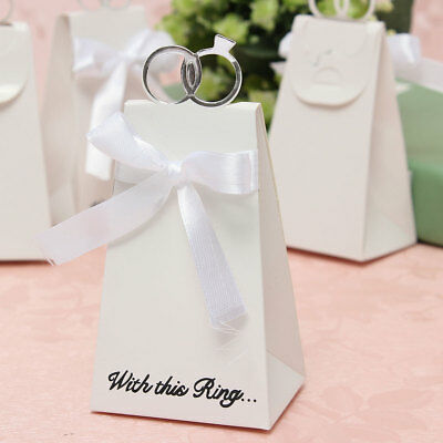 [NEW] 100PCS White Diamond Ring Style Gift Box Candy Favors Paper Bag Wedding Pa