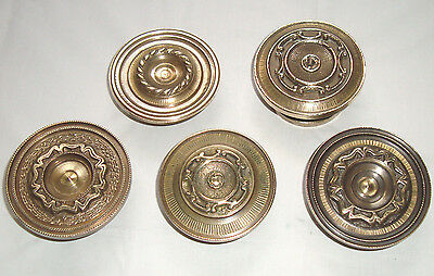 Vintage rare set lot of 5 solid brass pull & push door knobs handles - D13