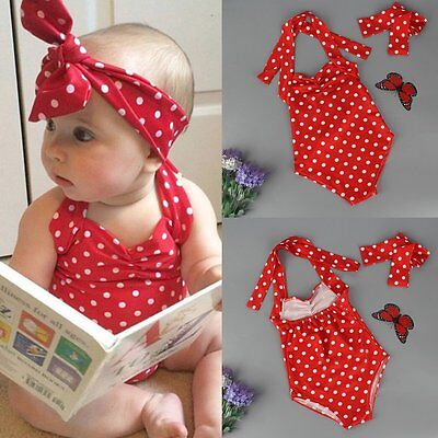 Kids Baby Girls Bikini Set Swimwear Swimsuit Bathing Suit Beachwear & Headband