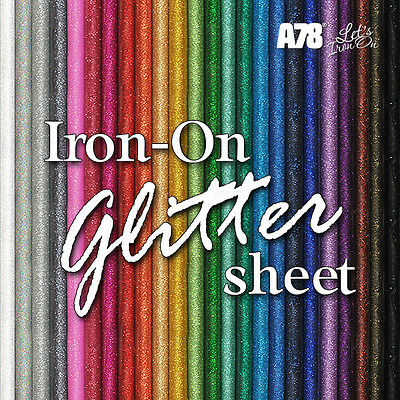 Sheet Glitter Iron-on Hot-Fix Clothing Vinyl Transfer for fabric 20cm x 25cm