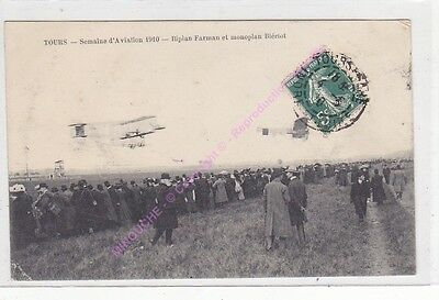 CPA 37000 TOURS aviation Biplan Farman & monoplan Blériot Edit ca1910