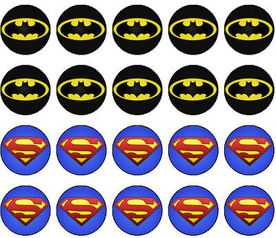 30 Batman Vs Superman Edible Cupcake Toppers Party Decoration PRECUT